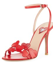 $1075 NIB VALENTINO LOVE HEARTS L'AMORE RED SANDALS SHOES HEELS NEW - $280.00
