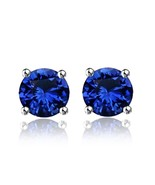 1Ct Blue Sapphire 10K Solid White Gold Solitaire Stud Earrings - $98.99