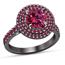 Pink Sapphire Womens Anniversary Ring Black Gold Over 925 Sterling Silve... - £58.65 GBP