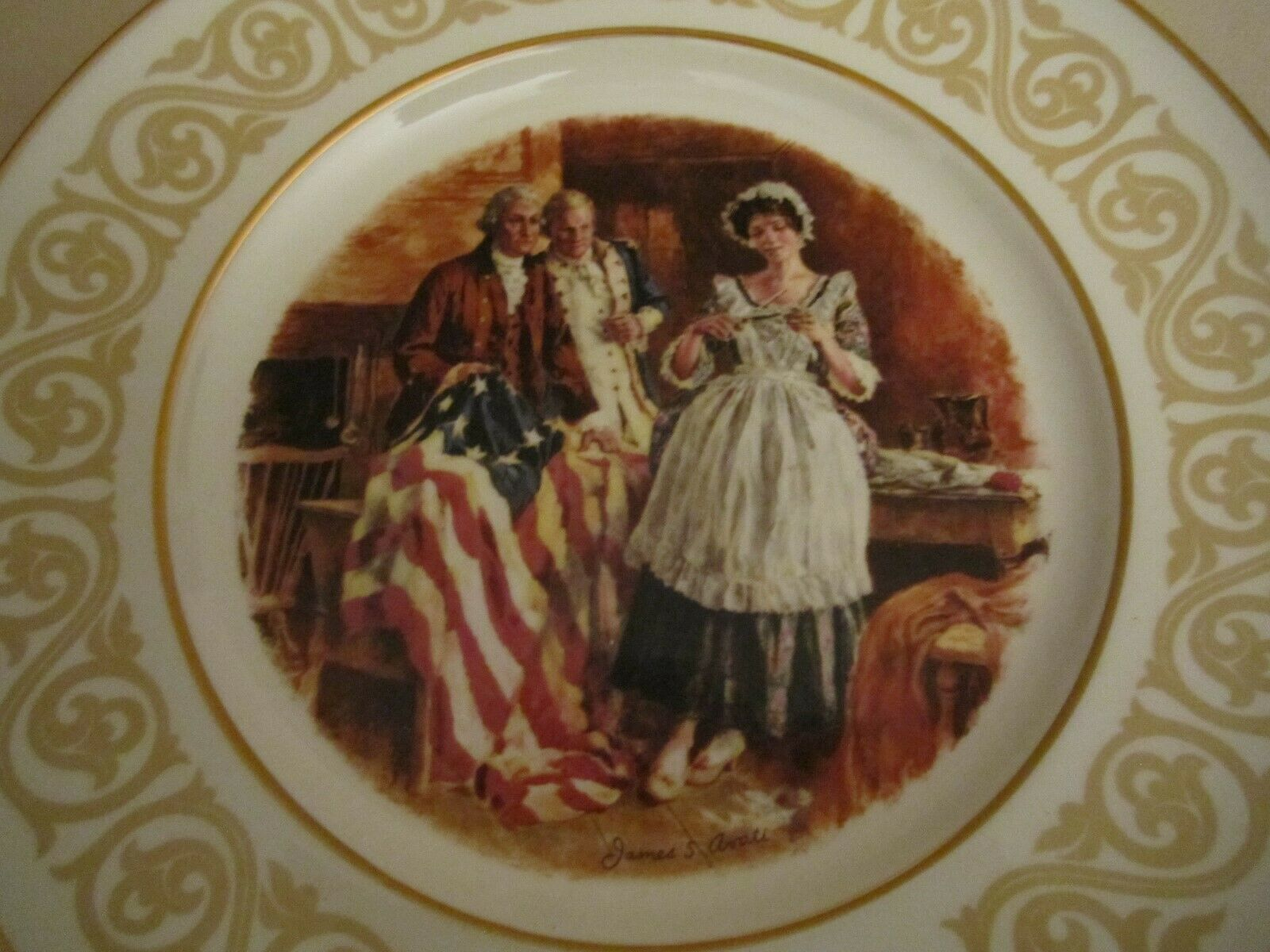 BETSY ROSS  Collector Plate AVON Stars and Stripes FLAG image 2