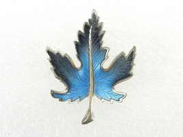 Vintage Costume Jewelry, Silver Tone with Blue Enamel Maple Leaf Brooch ... - $12.69