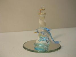 Lighthouse Genuine Blown Glass Dolphin statue Art Glass Figure - $51.95
