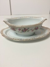Noritake China Somerset Pattern #5317 Gravy Boat With Attached Underplate - $11.88