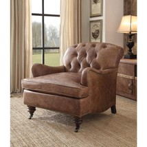 Retro Brown Genuine Leather Accent Chair Acme Furniture 96677 Durham  - $1,450.00