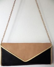 Big Buddha Black Tan Gold Convertible Crossbody Clutch Chain - $25.56 CAD