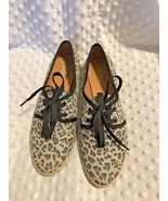Plume by Farylrobin Women sz 10 Animal Print Lace Tie Up Shoes Canvas ro... - $23.05
