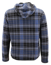 Men's Casual Flannel Zip Up Fleece Lined Plaid Sherpa Hoodie Lightweight Jacket image 9