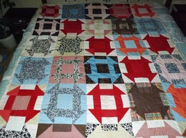 """Old Vtg. Hand Made Patchwork Quilt Square Pinwheel Pattern 80"""" x 65""""  - $123.75"""