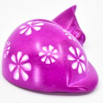 Vaneal Group Hand Carved Kisii Soapstone Fuchsia Pink Sleeping Cat Figurine image 4