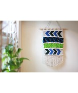 Wool and Cotton Macrame Wall Hanging in Seattle Sports Colors with Large... - $55.00