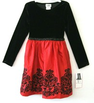 Rare Editions Grand Robe Fille Noir Rouge Taille 14 Velours Perle Sequin... - $48.50