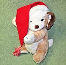 "16"" Vintage Russ Jingles Christmas Dog Tan White Red Santa Hat Hess Exclusive - $29.70"