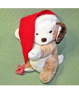 "16"" Vintage Russ JINGLES CHRISTMAS DOG Tan White RED SANTA HAT Hess Excl... - $29.70"