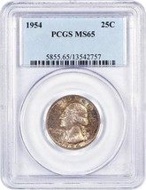 1954 25c PCGS MS65 - Washington Quarter - $24.25