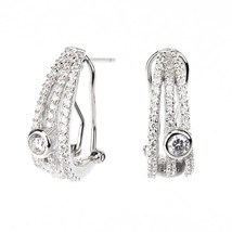 ZirconZ-Pave+Bezel Signity CZ Sterling Silver 3 Row Omega Back 1/2 Hoop Earrings - $59.99