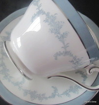 Kenmore Tea Cup and Saucer Soft Blue, Silver Trims English Bone China Ay... - $29.65