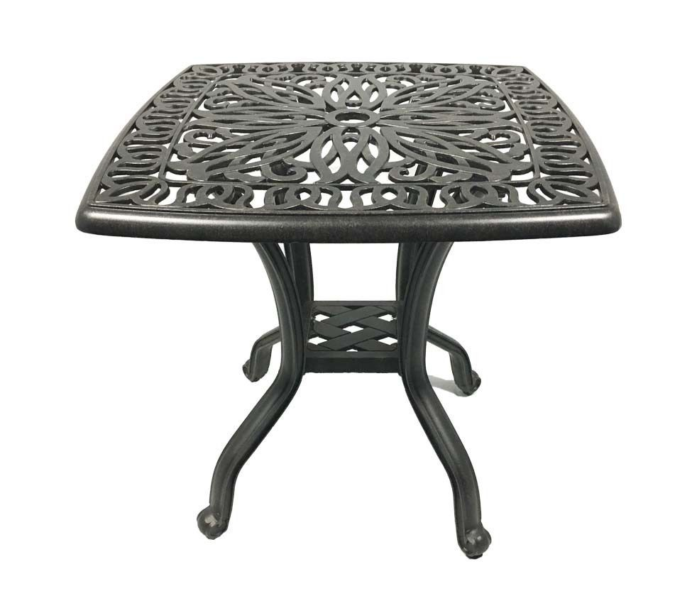 Cast aluminum end table small square patio balcony accent side outdoor furniture