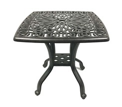 Cast aluminum end table small square patio balcony accent side outdoor furniture image 1