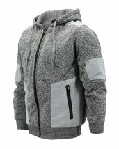 Men's Two Tone Warm Soft Sherpa Lined Moto Quilted Zipper Fleece Hoodie Jacket image 9
