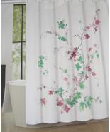 Tahari Printemps 2 Aqua/Pink/Gray Floral Bnraches on White Shower Curtain - $29.99