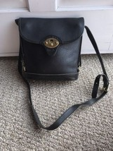 Vtg Dooney Bourke Classic Black Pebbled Leather Flap Bag Crossbody Purse... - $104.32