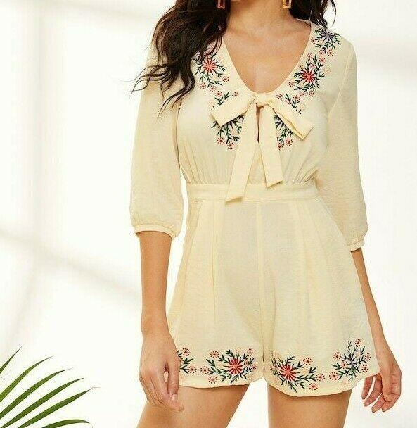 Zip Back V-Neck Tie Front Floral Embroideried Romper Jumpsuit Playsuit Top Women