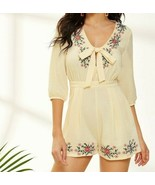 Zip Back V-Neck Tie Front Floral Embroideried Romper Jumpsuit Playsuit T... - $49.49
