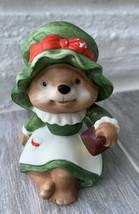 Vintage Homco #5600 Figurine Christmas Mama Bear Ceramic Figurine - $5.25