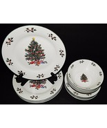Christmas Tree Holiday Porcelain Dinner Plate 4 PL Setting 12 Piece Red ... - $59.39