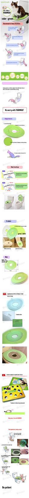 NABINUGI [NABINUGI] CAT Toilet Cover / Green Color / Cat Toilet Training Cover /