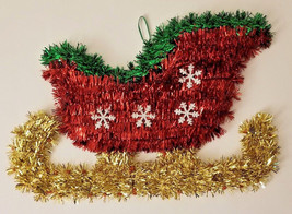 "Christmas House Tinsel Sled Gold Red Green Wall Decor, 13.58"" X 9.06"" w - $5.99"