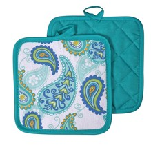Kitchen Pot Holders Set of 2, Turquoise Paisley Oven Mitts Potholder, Blue Green