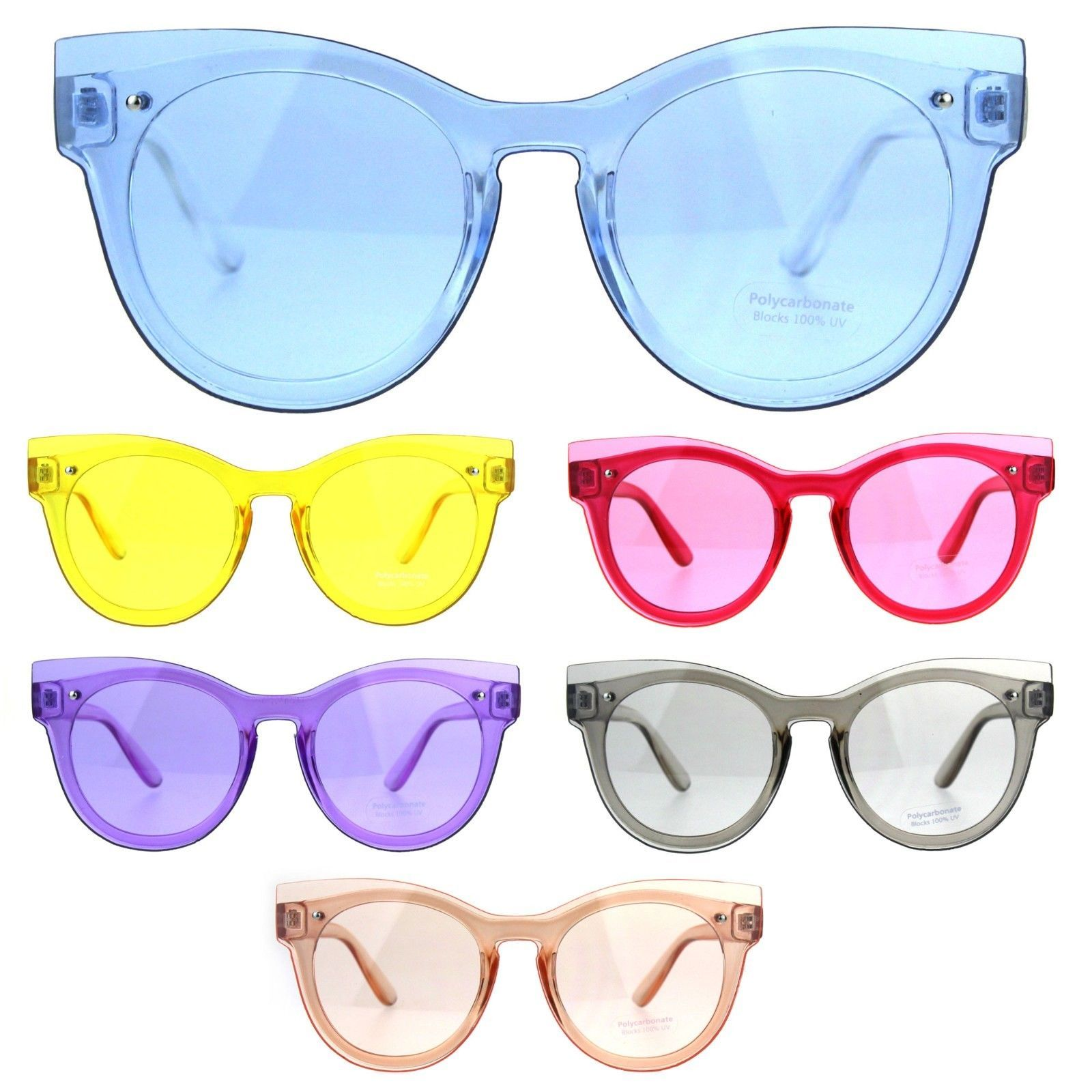 Womens Unique Exposed Panel Lens Cat Eye Horn Rim Keyhole Sunglasses