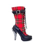 """Hades CORINNE Red & Black Plaid Lace Up Boots 5"""" Claw High Heel Midcalf - $155.00"""