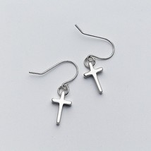 Minimalist Glossy Cross Dangle Drop Earrings For Women Party Mujer Moda ... - $12.90