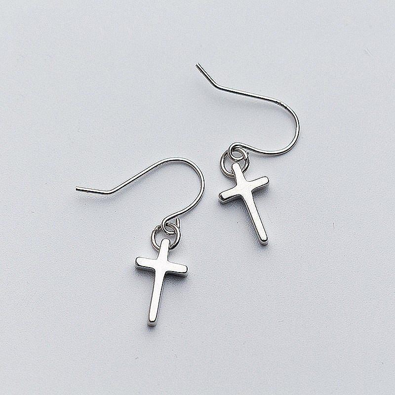 Nimalist glossy cross dangle drop earrings for women party mujer moda 2018 fashion jewelry charm