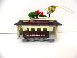 Hershey's Chocolate World Wooden Trolly Car 1982 Ornament Good Condition - $12.16
