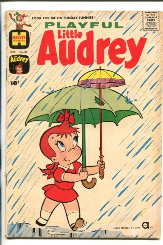 PLAYFUL LITTLE AUDREY #33-1961-MELVIN-UMBRELLA COVER-good image 1