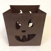 Jack O Lantern Candle Holder Pumpkin Face Bag Metal Tea Light Votive Hal... - $18.80