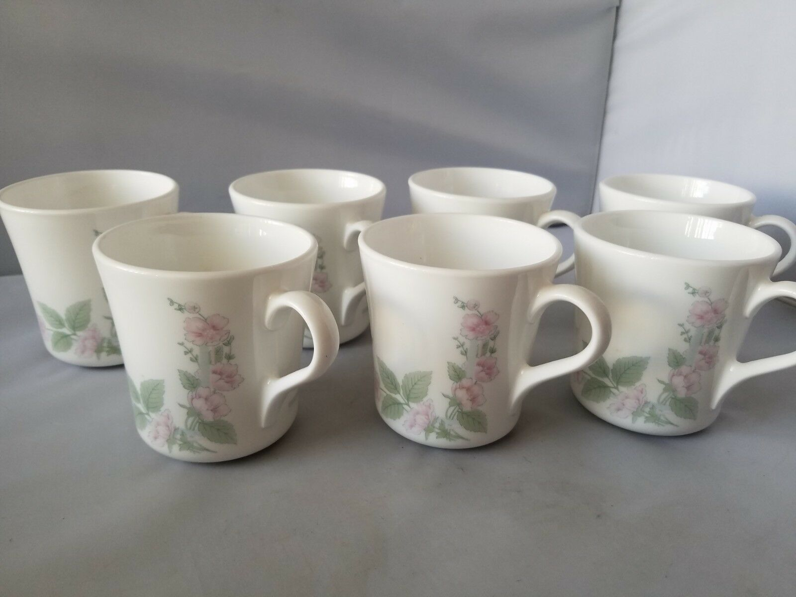 Corelle Corning Veranda Coffee Cups Mugs Set of 7 White Floral Home Kitchen