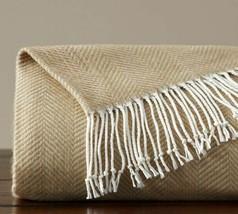 Pottery Barn Herringbone Stripe Sand 50 x 60 Fringed Throw Blanket - $42.00