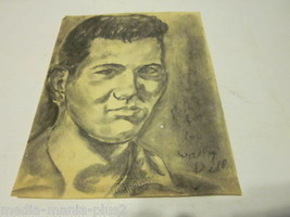 VINTAGE CHARCOAL STREET DRAWING BY WALLY DILL YOUNG MAN - $10.99