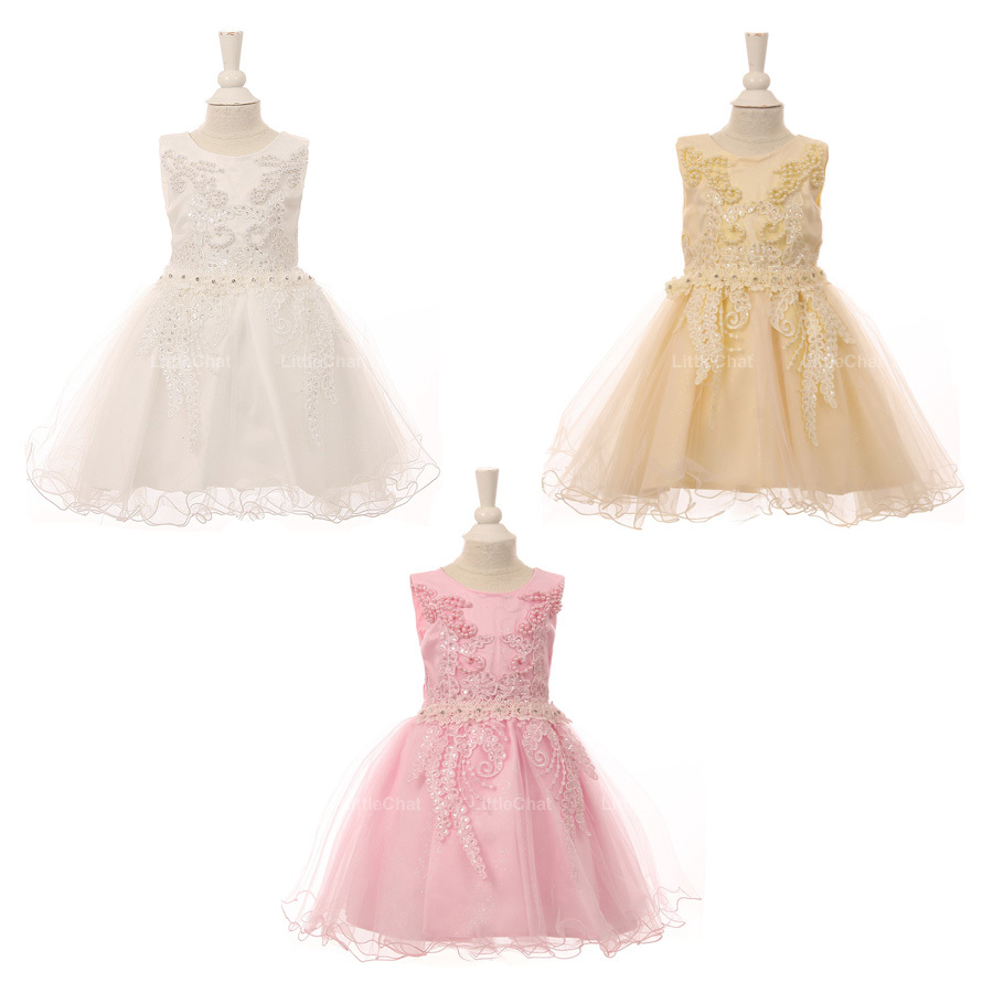 Pink Satin Glittered Tulle Baby Girl Dress Embroidered Lace Pearls Sequin Bodice