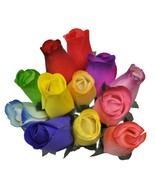 2 Dozen 24 Wooden Roses Colorful Arrangement in Sleeve - $10.39