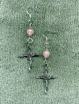 Flowery Cross Pink Beaded New Earrings Jewelry Unique - $11.99