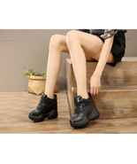 91B006 Fashion thick sole pump w crossed lace up top ,size 4-8.5, blac - $58.80