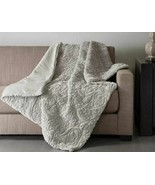 "Madison Park Albany Ultra Plush Faux Fur Throw Blanket Grey Embossed 50"" x 60"" - $68.52"