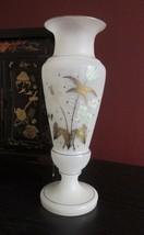 """ANTIQUE French OPALINE BRISTOL GLASS VASE FLOWER & FERN 12.5"""" Victorian ... - $39.55"""