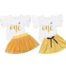 0 24M Toddler Kids Baby Girl Ruffle Letter Romper Tops Tutu Skirts Dress... - $11.69