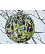 "Hanging Glass Ball 4"" Diameter Lime, Orange, Red, Purple, Blue Specks (1... - $13.86"